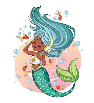 Cute mermaid with tan skin, green hair and shiny green tail wearing a t-shirt listen to music. little golden fishes and bubbles on the background. hand drawn vector illustration. isolated on white