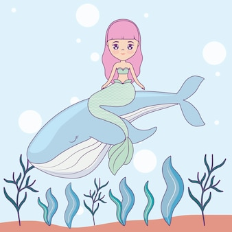 Cute mermaid with whale in the sea