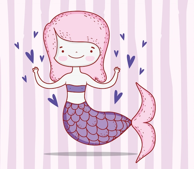 Cute mermaid woman with hairstyle and tail with hearts