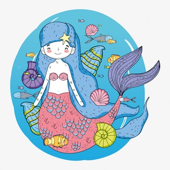 Cute mermaid woman with shells and fishes underwater