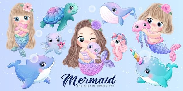Набор акварельных иллюстраций милых русалок и друзей