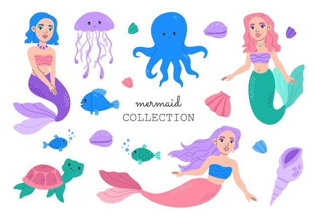 Коллекция милых русалок и морских животных. каваи принцесса девочка. морские существа