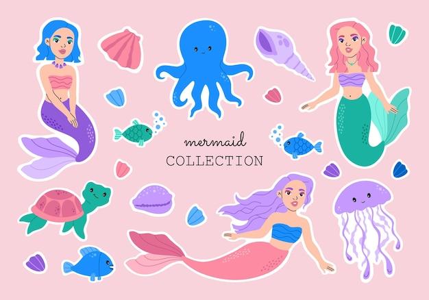 かわいい人魚と海の動物のステッカーコレクション。カワイイ姫の女の子。ピンクの背景に海の生き物、タコ、クラゲ、貝殻とカメの水中住民セット、ベクトルイラスト