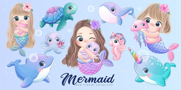 Cute mermaids and friends watercolor illustration set