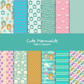 Cute mermaids patterns set
