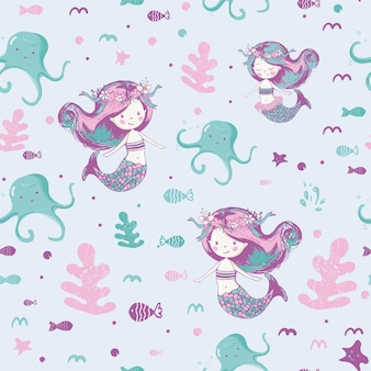 Cute mermaids seamless patterncan be used for baby tshirt print fashion print design kids wear