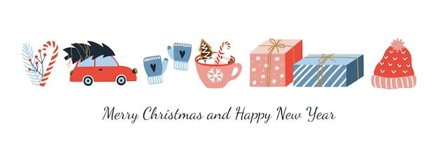 Симпатичный баннер с рождеством и новым годом