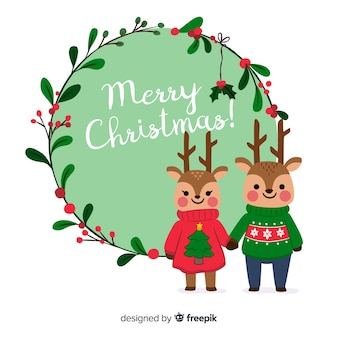 Cute merry christmas background with reindeer couple