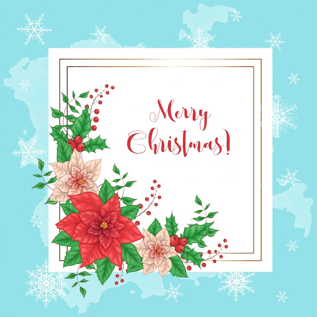 Cute merry christmas card with poinsettia wreath