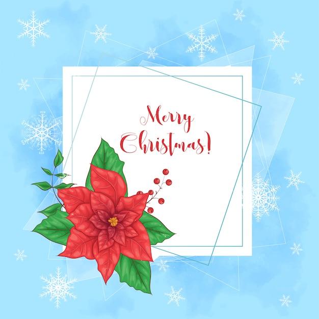 Cute merry christmas card with poinsettia wreath