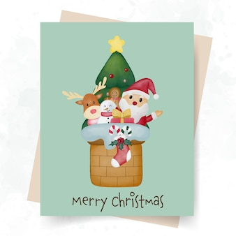 Cute merry christmas card with watercolor illustration