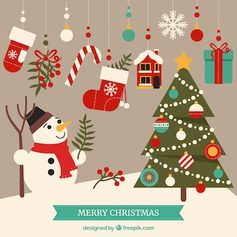 Cute merry christmas elements Free Vector
