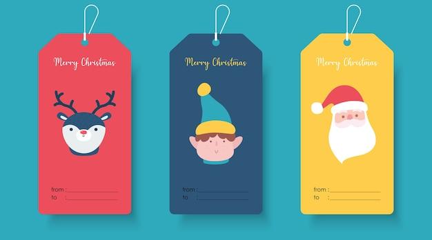 Милый шаблон тега подарка рождества. рождественский шаблон баннера тега