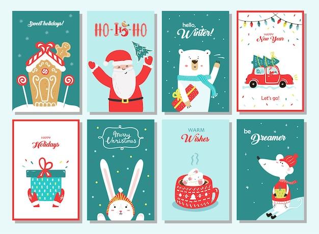 Милая поздравительная открытка с рождеством христовым с пряниками, дедом морозом, медведем и другими. набор зимних карт на синем и зеленом фоне с красными элементами.