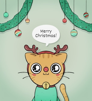 Cute merry christmas greeting card with cat reindeer