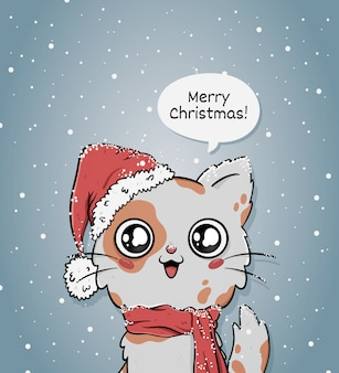 Cute merry christmas greeting card with cat with santa hat