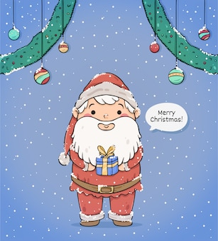 Cute merry christmas greeting card with santa claus