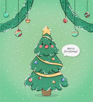 ツリーでかわいいメリークリスマスのグリーティングカード 無料ベクター