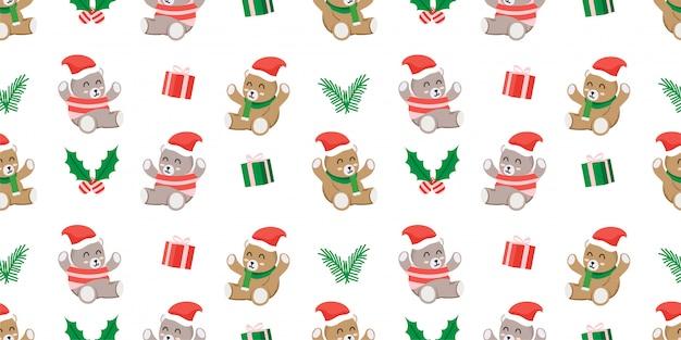 Cute merry christmas teddy bear santa clause seamless pattern
