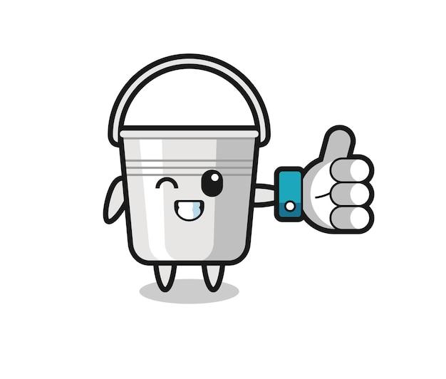ソーシャルメディアの親指を立てるシンボル、tシャツ、ステッカー、ロゴ要素のかわいいスタイルのデザインとかわいい金属製のバケツ