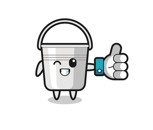 Cute metal bucket with social media thumbs up symbol , cute style design for t shirt, sticker, logo element