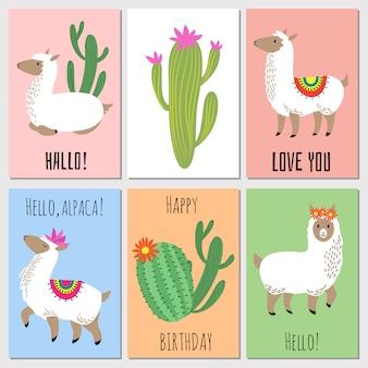 Cute mexican alpaca kids vector invitation cards