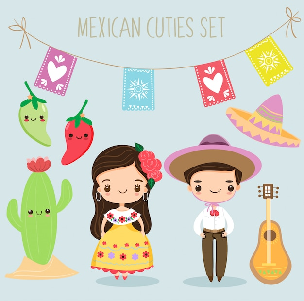 Cute mexican boy and girl with elements set