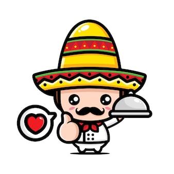 귀여운 멕시코 요리사 캐릭터 디자인