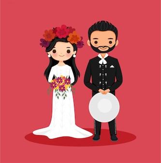 フィエスタパーティーのためのかわいいメキシコのカップル