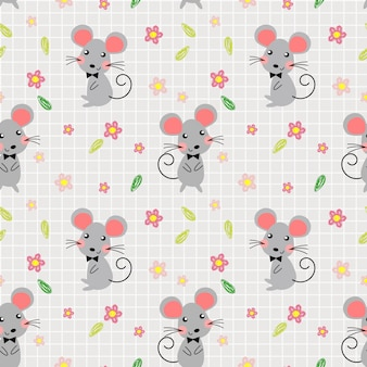 Cute mice and lovely flowers seamless pattern.