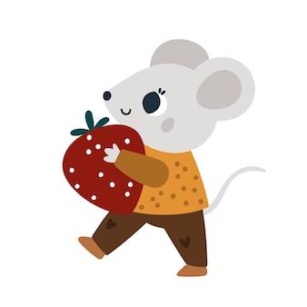 달콤한 딸기가 있는 귀여운 쥐 과일이 있는 작은 쥐 아이들을 위한 아기 동물 그림