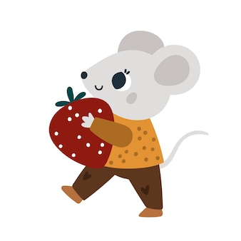 Cute mice with sweet strawberry little mouse with fruit baby animal illustration for kids