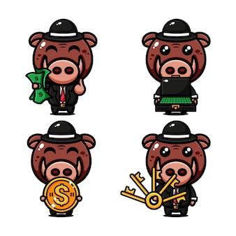 Симпатичная свинья-миллионер, дизайн персонажей на тему богатой жизни