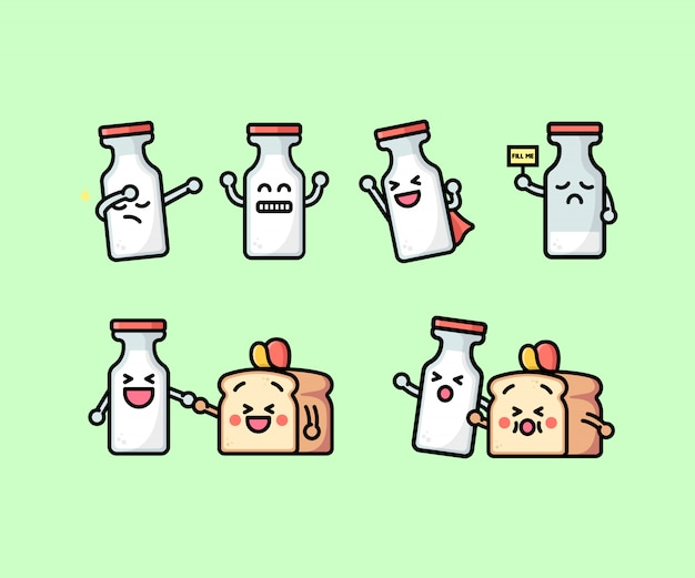Cute milk bottle and bread illustration