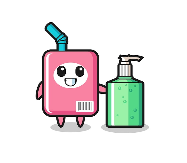 손 소독제가 있는 귀여운 우유 상자 만화, 티셔츠, 스티커, 로고 요소를 위한 귀여운 스타일 디자인