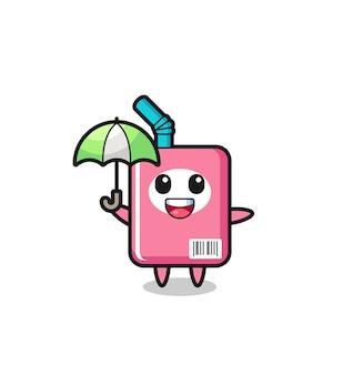 우산을 들고 있는 귀여운 우유 상자 그림, 티셔츠, 스티커, 로고 요소를 위한 귀여운 스타일 디자인