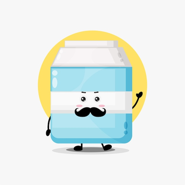Cute milk character with mustache