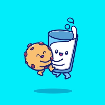 Cute milk and cookies hugging icon illustration. breakfast food icon concept isolated premium . flat cartoon style
