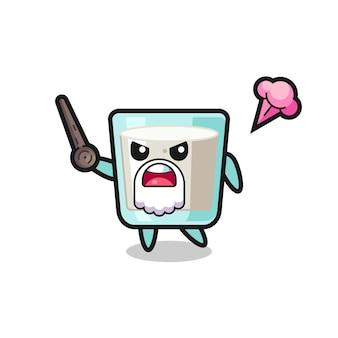 かわいいミルクおじいちゃんが怒っている、tシャツ、ステッカー、ロゴ要素のかわいいスタイルのデザイン