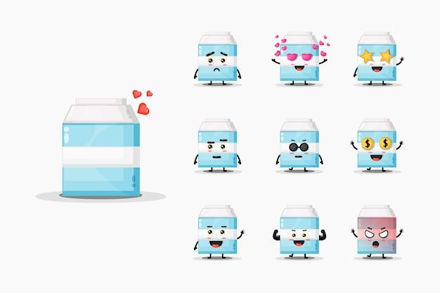 Cute milk mascot  set