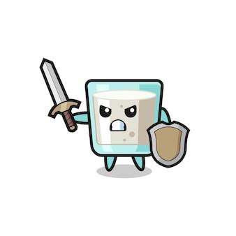 剣と盾と戦うかわいいミルク兵士、tシャツ、ステッカー、ロゴ要素のかわいいスタイルのデザイン