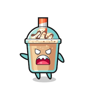 Cute milkshake cartoon in a very angry pose , cute style design for t shirt, sticker, logo element