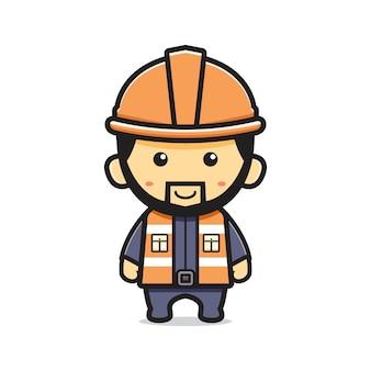 かわいい鉱夫漫画アイコンベクトルイラスト。孤立したフラット漫画スタイルをデザインする