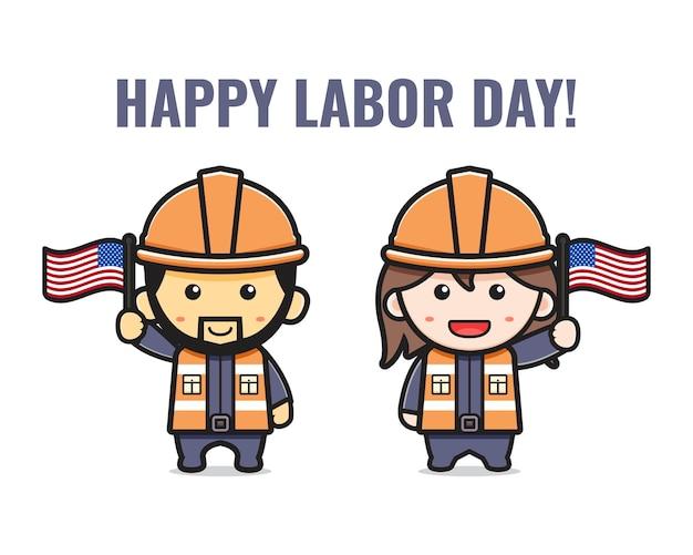 かわいい鉱山労働者は、労働者の日の漫画イラストを祝います。孤立したフラット漫画スタイルをデザインする