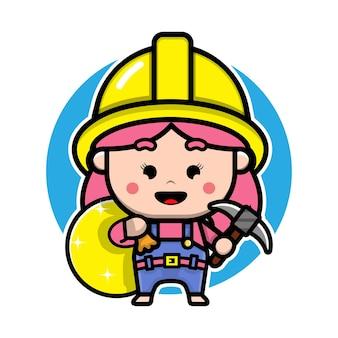 Симпатичный дизайн персонажей девушки-шахтера