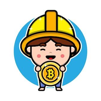 Cute miner holding bitcoin cartoon character design