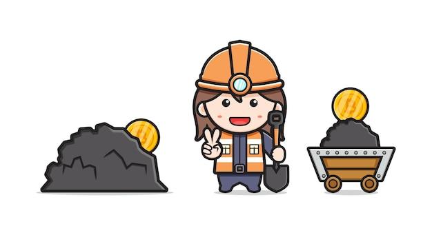 かわいいマイナー鉱山ビットコインアイコンイラスト。孤立したフラット漫画スタイルをデザインする