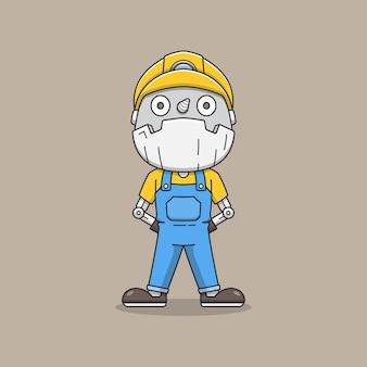 Милый робот-шахтер в униформе