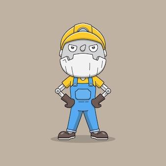 Cute miner robot in uniform