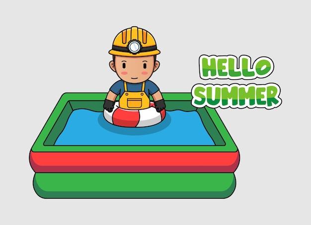 Милый шахтер плавает с приветственным летним баннером